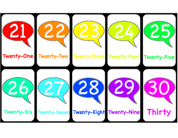 100 Chart Number Card Set With Names