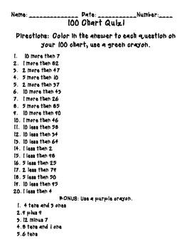 100 Chart Quiz  2.OA.1 2.OA.2