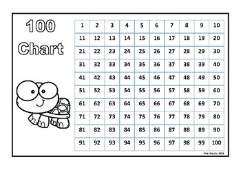 100 Chart Turtles B&W