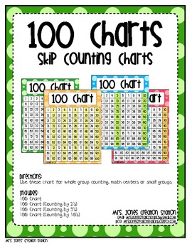 100 Charts Skip Counting By Mrs Jones Creation Station