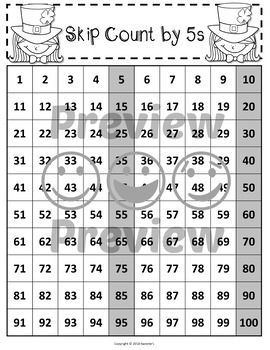 100 Charts with Skip Counting - St Patrick's Day