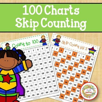 100 Charts with Skip Counting - Super Hero