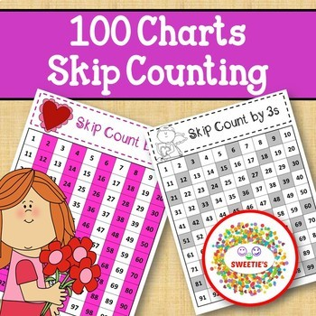 100 Charts with Skip Counting - Valentine
