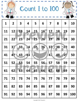 100 Charts with Skip Counting - Space