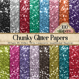 100 Chunky Glitter Texture Digital Papers Bling Bling Papers