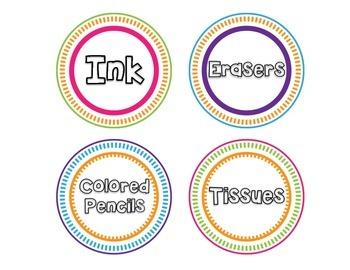 100+ Classroom Labels- Bright Circles