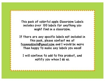 100+ Classroom Labels- Bright Patterned Apples