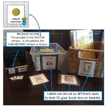 100 + Classroom Library Book Bin Labels - Cactus