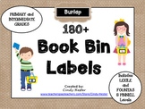 100+ Classroom Library Burlap Book Bin Labels for Primary/ Intermediate-EDITABLE