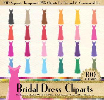 100 Clip Arts Wedding Gown, Bridal Shower, Bridesmaid Dress