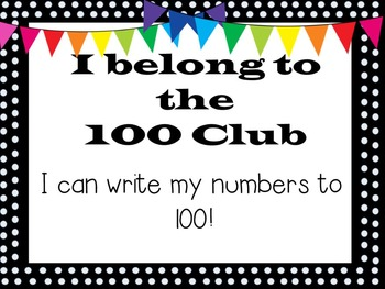100 Club: Number Writing Practice