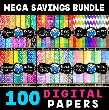 100 Digital Papers - Colorful Digital Paper Bundle