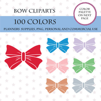 100 Colors Clip Art, Bows and Ribbons Cliparts, Fashion Clipart, Tie Bow