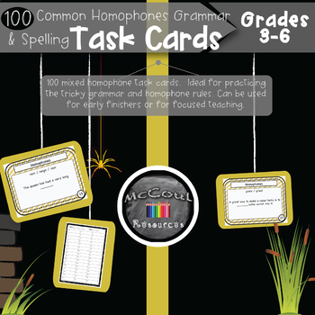 100 Common Homophones Grammar and Spelling Task Cards