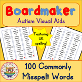 100 Commonly Misspelled Words (UK) - Visual Aids for Autism