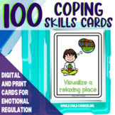 100 Digital and Print Coping Skills Cards with Checklists Sorting Mats and More