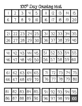 100 Counting Mat with Ten Frames