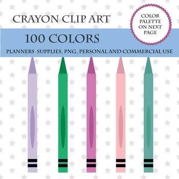 100 Crayon clipart, Baby crayon clipart, Crayon clip art, School supplies