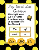 100 Cursive Word Flash Cards - Word Wall, HFWs, Fry
