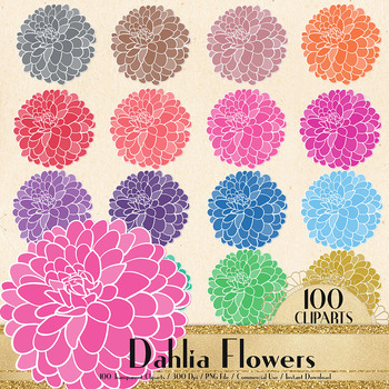 100 Dahlia Flower Clip Arts Botanical Greenery Floral Wedding