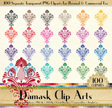 100 Damask Clip Arts Antique Wedding Ornament Floral