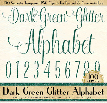 100 dark green glitter alphabet number symbol letter clip arts not a font