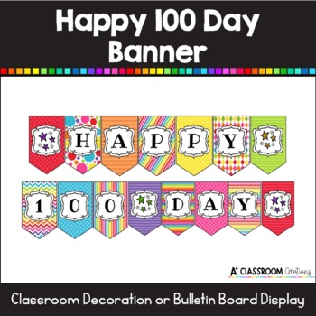 100 Days Theme Party Decoration Kids 100 Days Celebration,100th Day of School Silver Happy 100 Days Banner