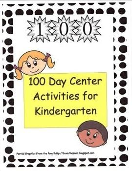 100 Day Center Activities for Kindergarten