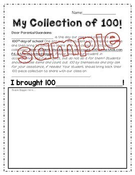 100 Day Collections - 100th Day of School Parent Letter  *EDITABLE*