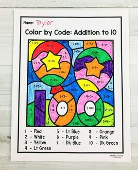 100 Day Math Color by Number FREEBIE | Addition to 20