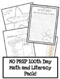 100 Day Math and Literacy Pack - No Prep!