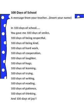 100 Day Message from Your Teacher (personalize)