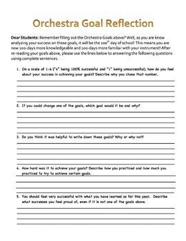 Back to School! 100 Day Music Student Goal Sheet Band,Orchestra, Chorus, Music