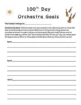 Back to School! 100 Day Music Student Goal Sheet Band,Orch