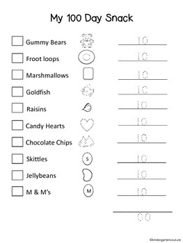 100 Day Snack Letter and Recording Sheet -freebie