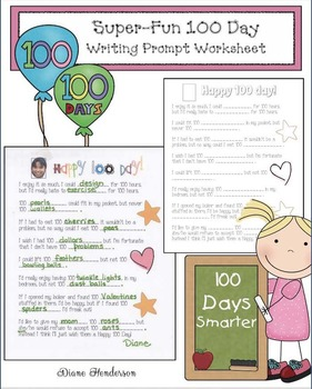 100 Day Activities: Super-Fun 100 Day Writing Prompt Worksheet