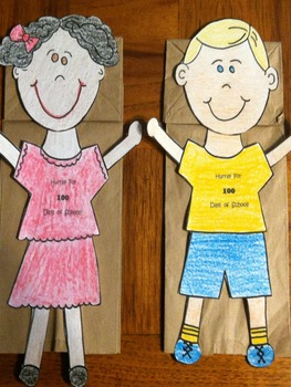 100 Day of School Boy and Girl Puppets