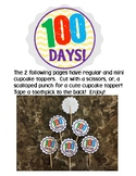100 Day of School Cupcake Toppers Treat Clipart