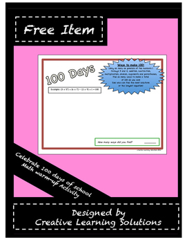 100 Days - 100 Ways: Math Activity for the 100th Day of school