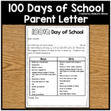 100th Day of School Parent Letter Home