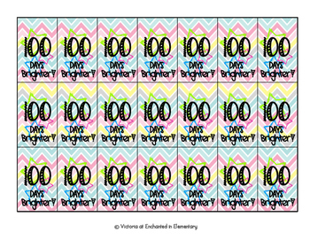 100 Days Brighter Brag Tags {Freebie!}