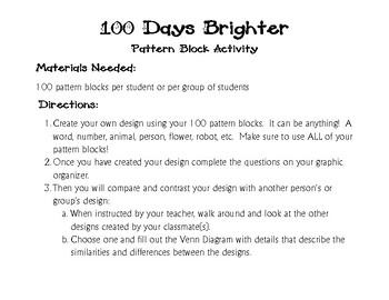 100 Days Brighter Pattern Block Math & ELA Activity