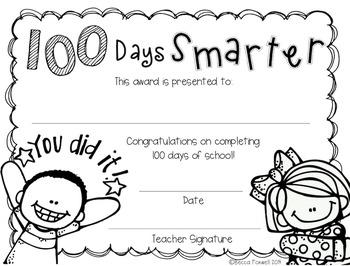100 Days Smarter Award FREEBIE {100th day}