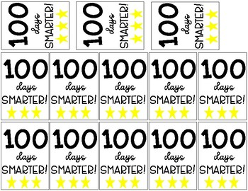 100th Day of School 100 Days Smarter Brag Tags