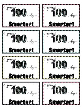graphic regarding 100 Days Smarter Printable known as 100 Times Smarter Tag Worksheets Schooling Elements TpT