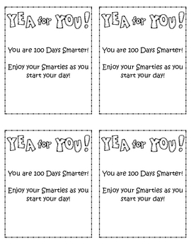 graphic about 100 Days Smarter Printable called 100 Times Smarter Smarties Worksheets Schooling Supplies TpT