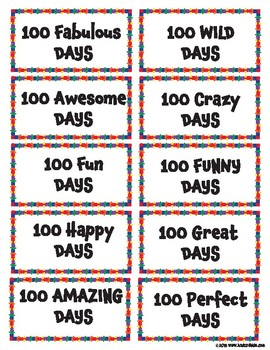 100 Days of School Tags - Badge FREEBIE
