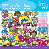 100 Days at School - Stick Kids - Clipart for Teaching Resources