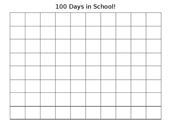 100 Days in School Grid for counting