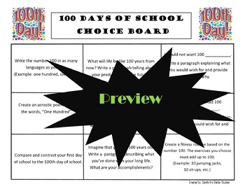 100 Days of School 100th Day Choice Board Activities Menu Rubric Tic Tac Toe